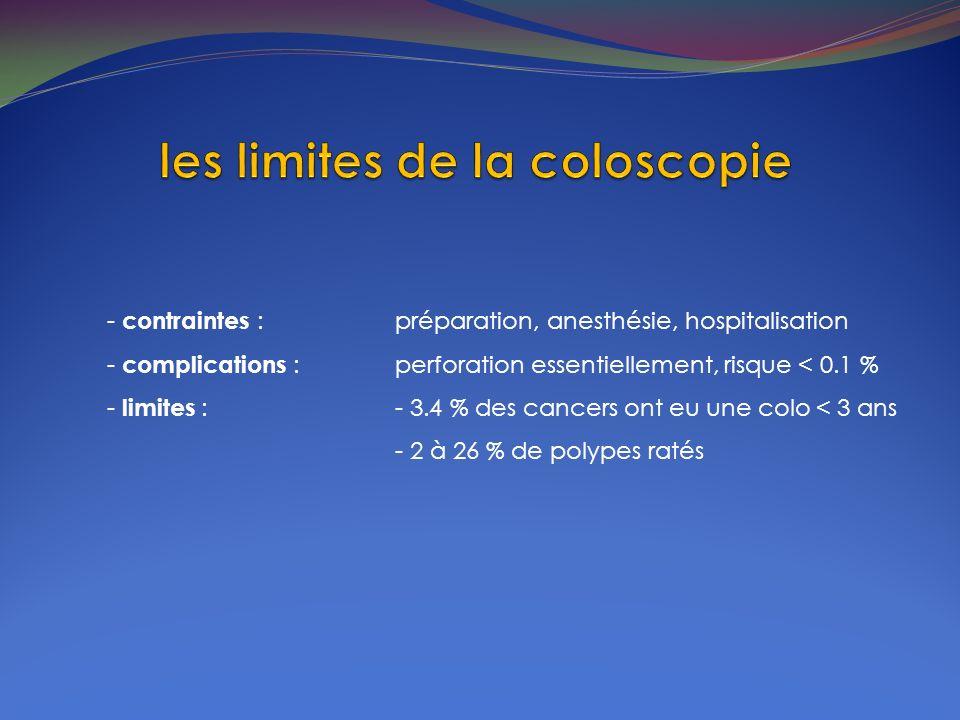 - contraintes : préparation, anesthésie, hospitalisation - complications : perforation essentiellement, risque < 0.1 % - limites : - 3.4 % des cancers