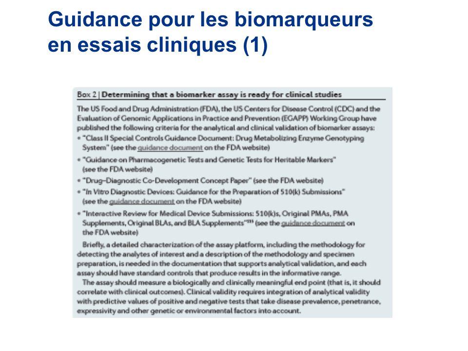Guidance pour les biomarqueurs en essais cliniques (1)