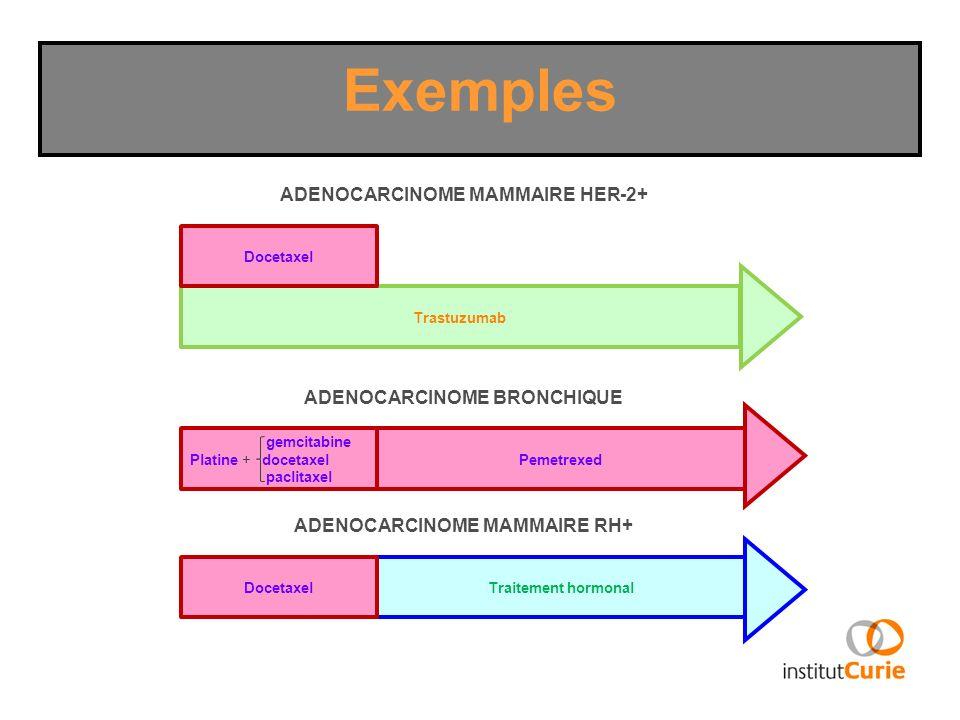 Trastuzumab Exemples Docetaxel Pemetrexed gemcitabine Platine + docetaxel paclitaxel ADENOCARCINOME MAMMAIRE HER-2+ ADENOCARCINOME BRONCHIQUE Traiteme