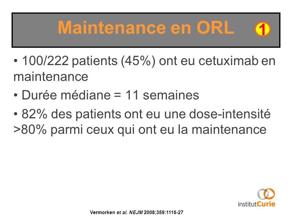 100/222 patients (45%) ont eu cetuximab en maintenance Durée médiane = 11 semaines 82% des patients ont eu une dose-intensité >80% parmi ceux qui ont