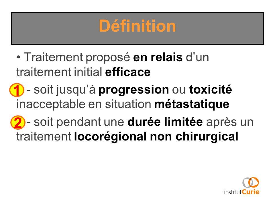 Traitement proposé en relais dun traitement initial efficace - soit jusquà progression ou toxicité inacceptable en situation métastatique - soit penda