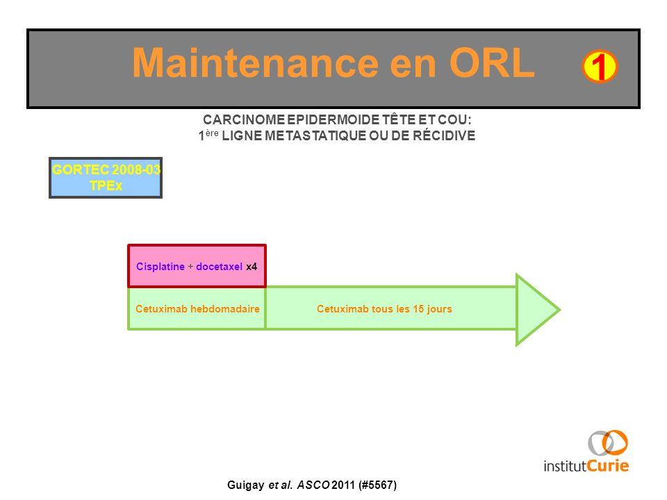Cetuximab hebdomadaire Maintenance en ORL Guigay et al. ASCO 2011 (#5567) Cetuximab tous les 15 jours 1 CARCINOME EPIDERMOIDE TÊTE ET COU: 1 ère LIGNE