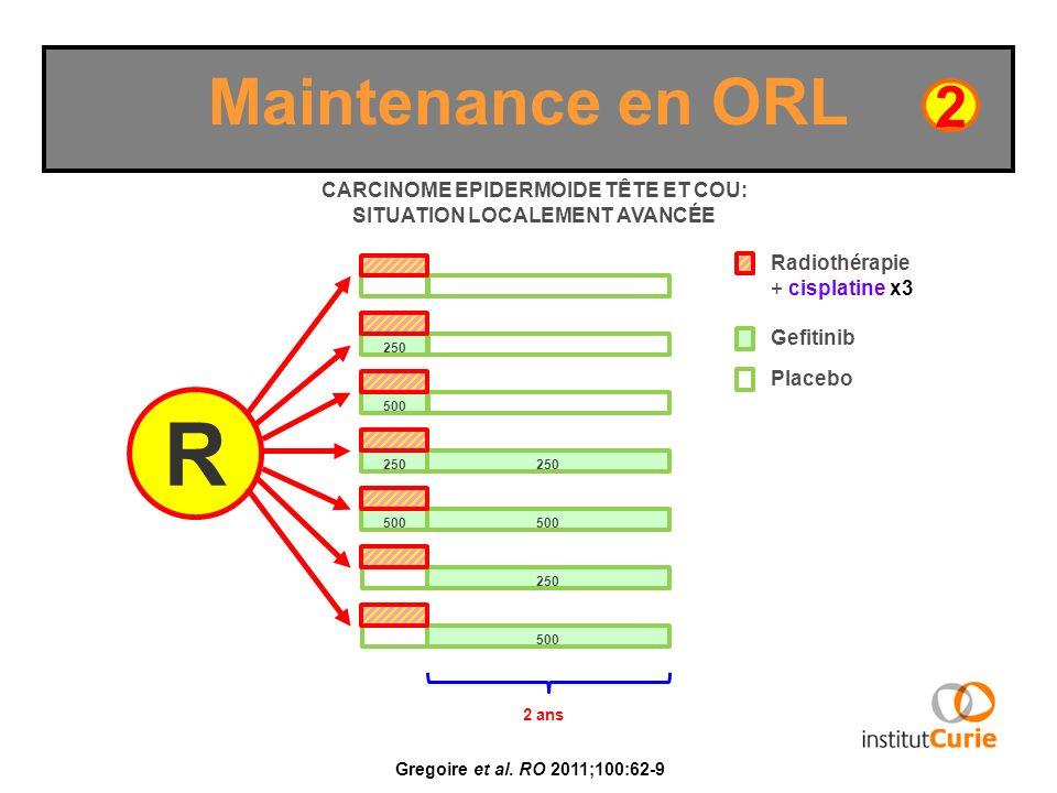 Maintenance en ORL Gregoire et al. RO 2011;100:62-9 R CARCINOME EPIDERMOIDE TÊTE ET COU: SITUATION LOCALEMENT AVANCÉE 2 250 500 250 500 250 500 2 ans