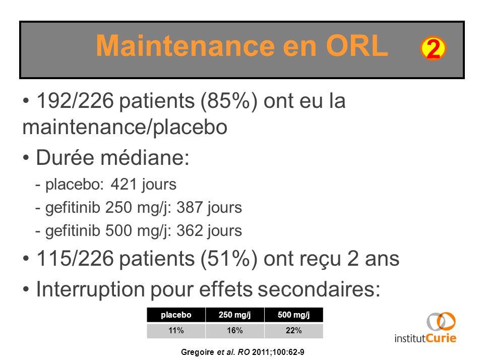 192/226 patients (85%) ont eu la maintenance/placebo Durée médiane: - placebo: 421 jours - gefitinib 250 mg/j: 387 jours - gefitinib 500 mg/j: 362 jou