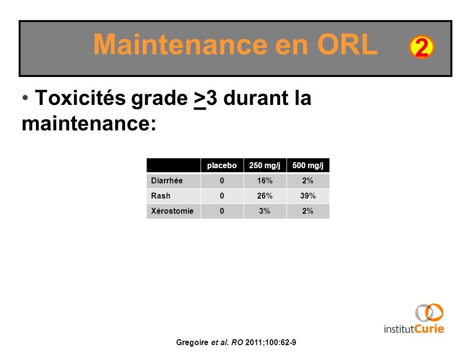 Toxicités grade >3 durant la maintenance: Maintenance en ORL 2 Gregoire et al. RO 2011;100:62-9 placebo250 mg/j500 mg/j Diarrhée016%2% Rash026%39% Xér
