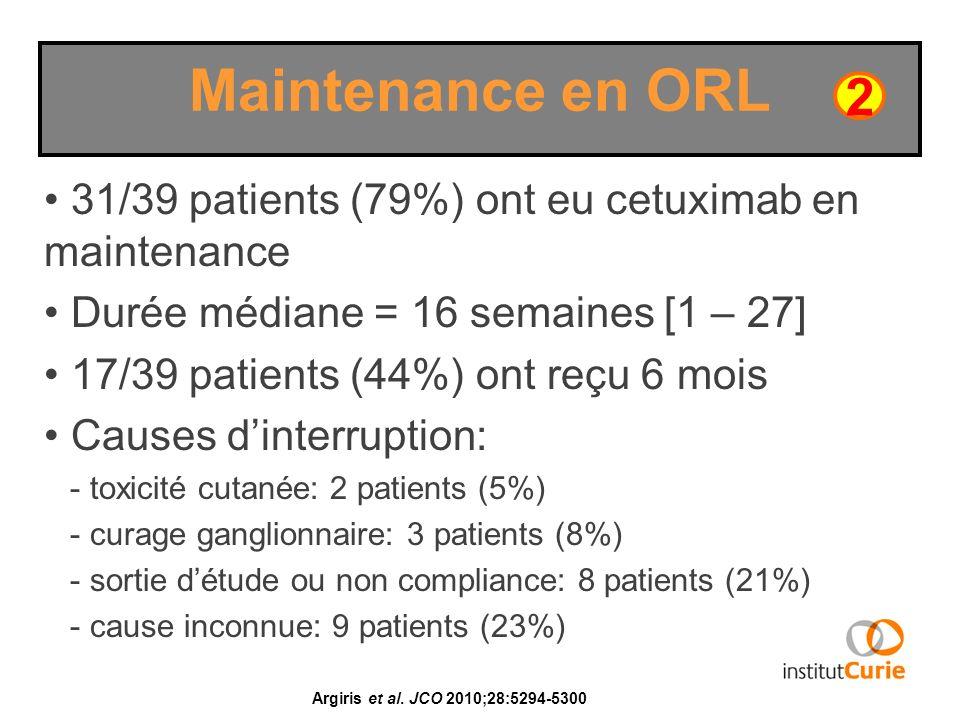 31/39 patients (79%) ont eu cetuximab en maintenance Durée médiane = 16 semaines [1 – 27] 17/39 patients (44%) ont reçu 6 mois Causes dinterruption: -