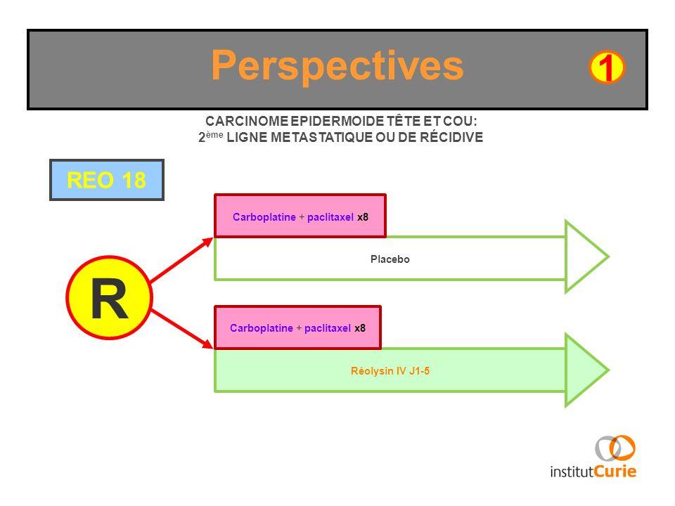 Perspectives REO 18 R CARCINOME EPIDERMOIDE TÊTE ET COU: 2 ème LIGNE METASTATIQUE OU DE RÉCIDIVE Réolysin IV J1-5 Carboplatine + paclitaxel x8 1 Place