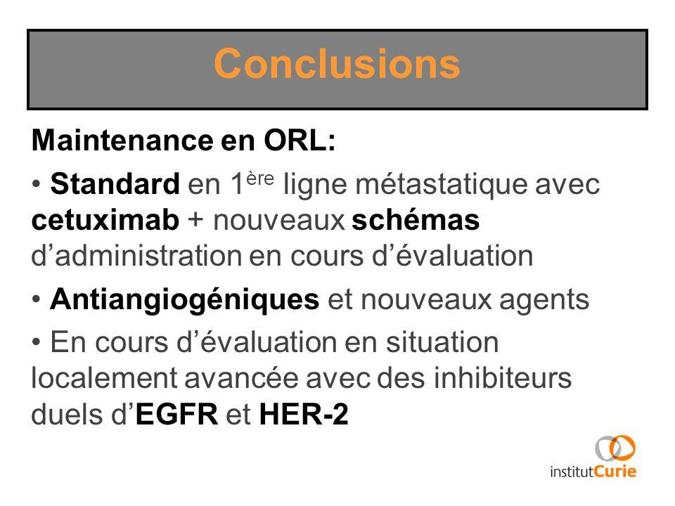 Conclusions Maintenance en ORL: Standard en 1 ère ligne métastatique avec cetuximab + nouveaux schémas dadministration en cours dévaluation Antiangiog
