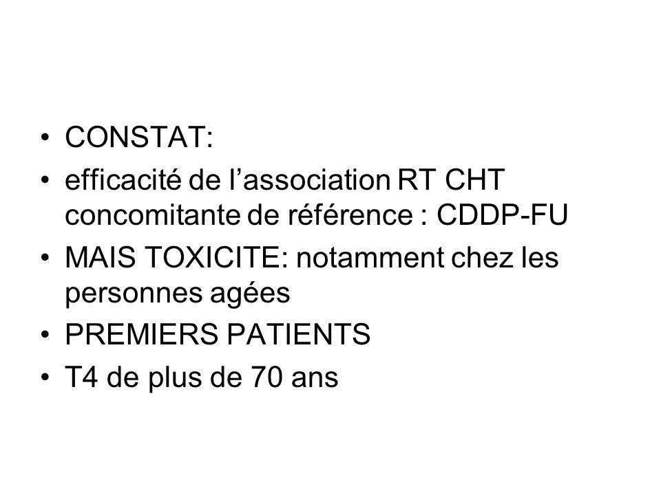 CONSTAT: efficacité de lassociation RT CHT concomitante de référence : CDDP-FU MAIS TOXICITE: notamment chez les personnes agées PREMIERS PATIENTS T4