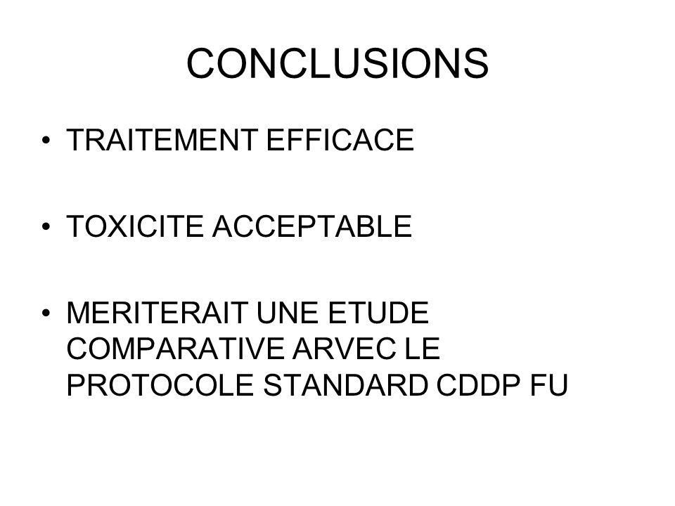 CONCLUSIONS TRAITEMENT EFFICACE TOXICITE ACCEPTABLE MERITERAIT UNE ETUDE COMPARATIVE ARVEC LE PROTOCOLE STANDARD CDDP FU