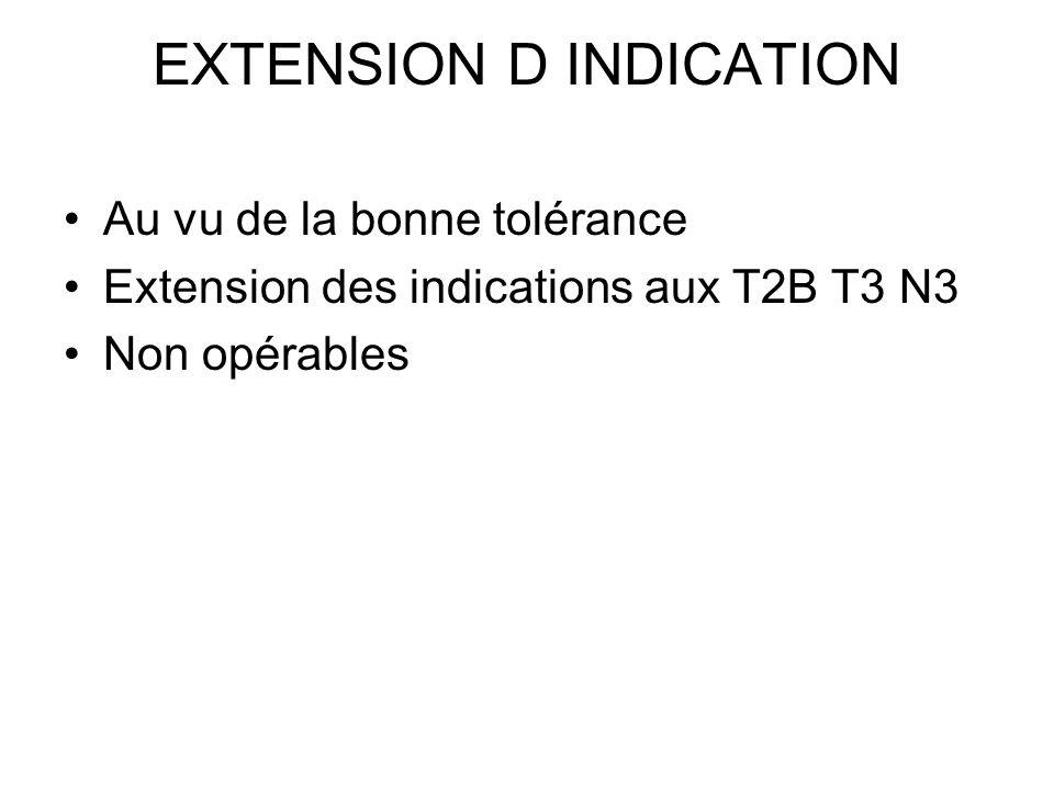 EXTENSION D INDICATION Au vu de la bonne tolérance Extension des indications aux T2B T3 N3 Non opérables