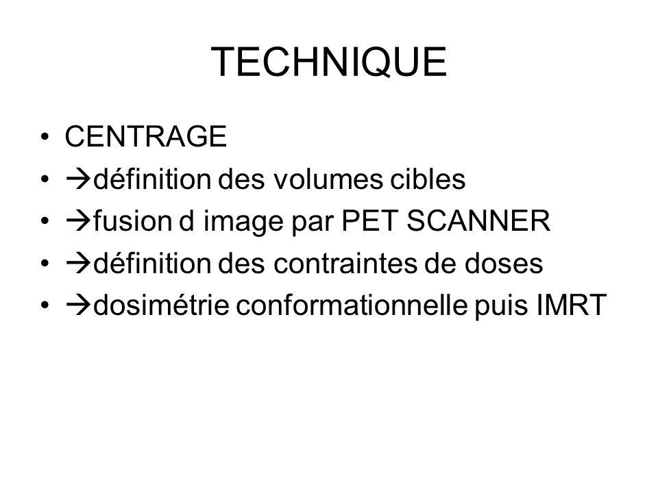 TECHNIQUE CENTRAGE définition des volumes cibles fusion d image par PET SCANNER définition des contraintes de doses dosimétrie conformationnelle puis