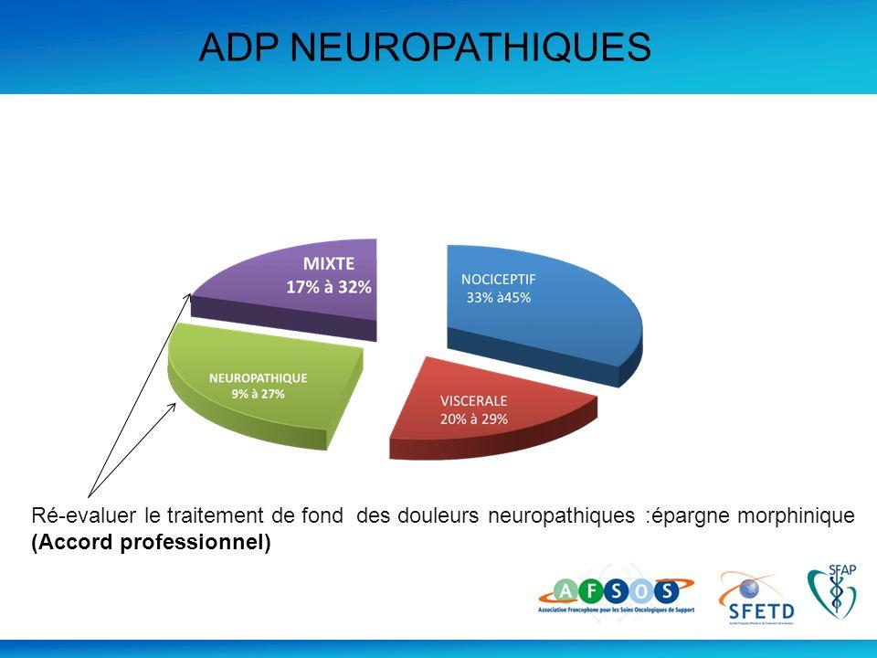 ADP NEUROPATHIQUES Ré-evaluer le traitement de fond des douleurs neuropathiques :épargne morphinique (Accord professionnel)