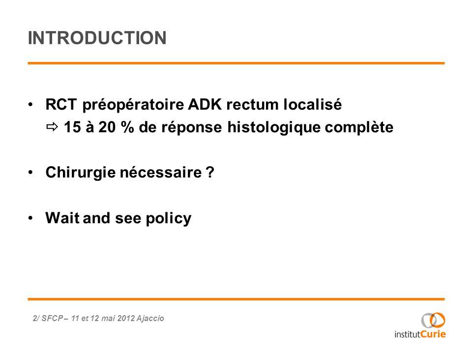 ETUDE HABR-GAMA 3/ SFCP – 11 et 12 mai 2012 Ajaccio n = 265 ADK rectum distal RCT néoadjuvante [5FU-AF + 50,4 Gy] Surveillance si réponse clinique complète (RCc) Suivi moyen 60 mois : SG 5 ans = 93 % ; survie sans récidive : 85 % Une révolution .