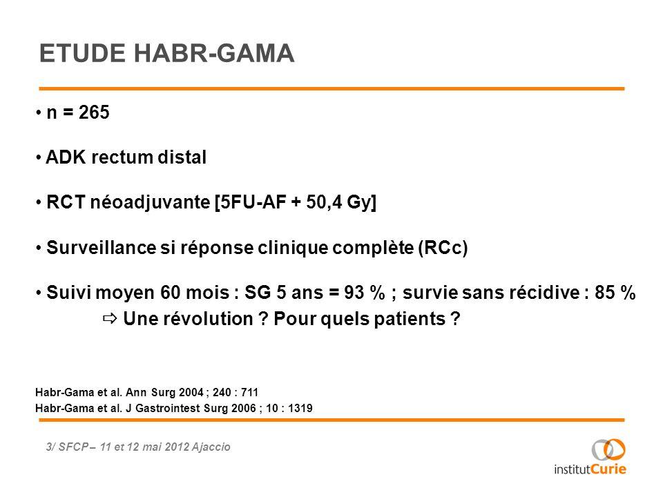 PROTOCOLE ADK rectum localement avancé T4 T3 + atteinte mesorectum T3 + marge circonférencielle limite T3N+ Evaluation pré-thérapeutique par IRM (de diffusion > 2006) RCT avec CAP + 50,4 Gy Evaluation de la réponse à 6-8 semaines IRM (de diffusion) Endoscopie si RC en IRM 4/ SFCP – 11 et 12 mai 2012 Ajaccio