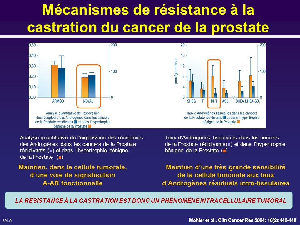 V1.0 Les mécanismes INTRACELLULAIRES de la résistance à la castration 1.Surexpression des AR 2.Modifications des AR (mutations…) 3.Augmentation du co-activateur (GTF) 4.