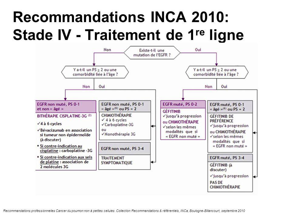 Recommandations INCA 2010: Stade IV - Traitement de 1 re ligne Recommandations professionnelles Cancer du poumon non à petites cellules. Collection Re