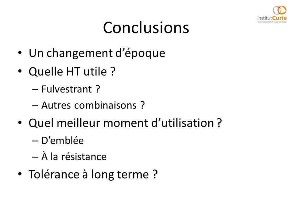 Conclusions Un changement dépoque Quelle HT utile ? – Fulvestrant ? – Autres combinaisons ? Quel meilleur moment dutilisation ? – Demblée – À la résis