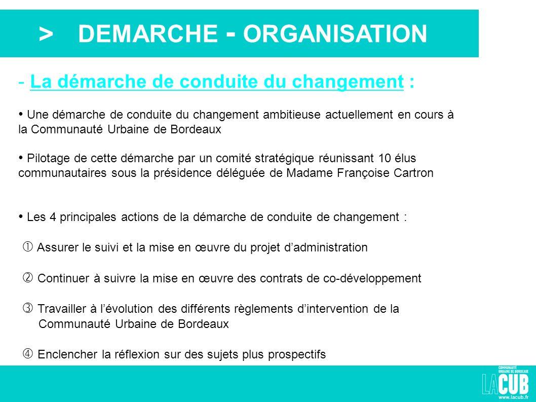 > - La démarche de conduite du changement : Une démarche de conduite du changement ambitieuse actuellement en cours à la Communauté Urbaine de Bordeau