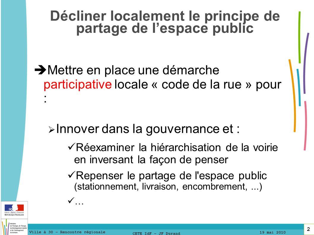 13 1313 Ville à 30 – Rencontre régionale 19 mai 2010 13 CETE IdF – JF Durand Merci pour votre attention