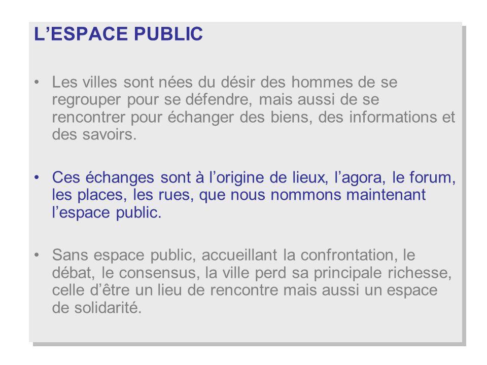 lespace public est lessence même de la ville : toutes les fonctions urbaines doivent pouvoir être assurées.