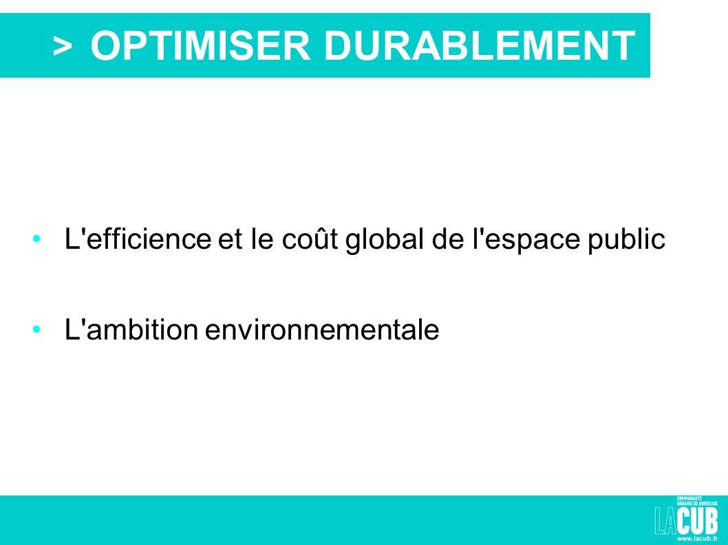 > L efficience et le coût global de l espace public L ambition environnementale OPTIMISER DURABLEMENT