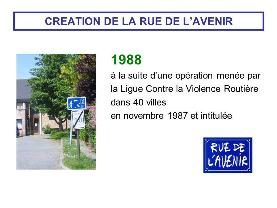 CREATION DE LA RUE DE LAVENIR 1988 à la suite dune opération menée par la Ligue Contre la Violence Routière dans 40 villes en novembre 1987 et intitulée