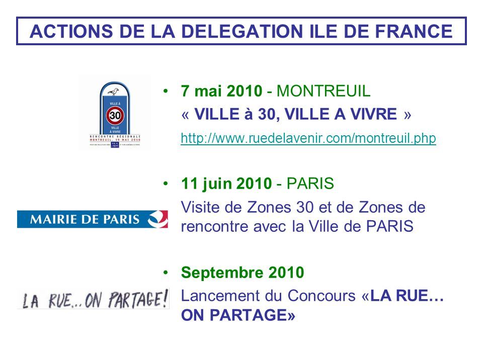 ACTIONS DE LA DELEGATION ILE DE FRANCE 7 mai 2010 - MONTREUIL « VILLE à 30, VILLE A VIVRE » http://www.ruedelavenir.com/montreuil.php 11 juin 2010 - PARIS Visite de Zones 30 et de Zones de rencontre avec la Ville de PARIS Septembre 2010 Lancement du Concours «LA RUE… ON PARTAGE»