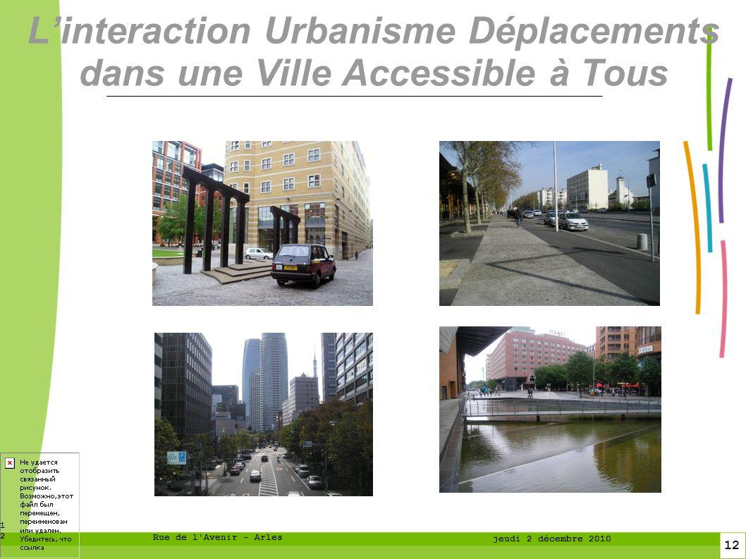 12 12 Rue de l Avenir - Arles jeudi 2 décembre 2010 Linteraction Urbanisme Déplacements dans une Ville Accessible à Tous