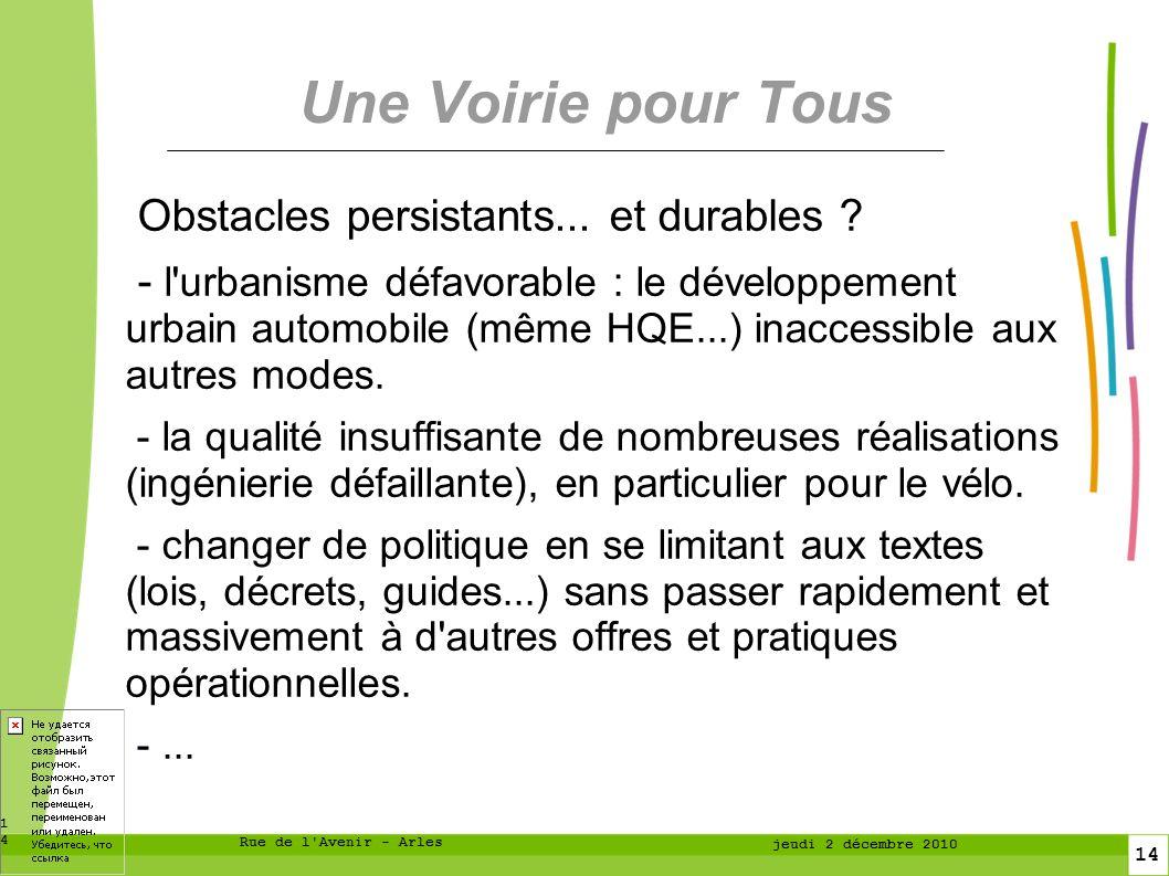 14 14 Rue de l Avenir - Arles jeudi 2 décembre 2010 Une Voirie pour Tous Obstacles persistants...