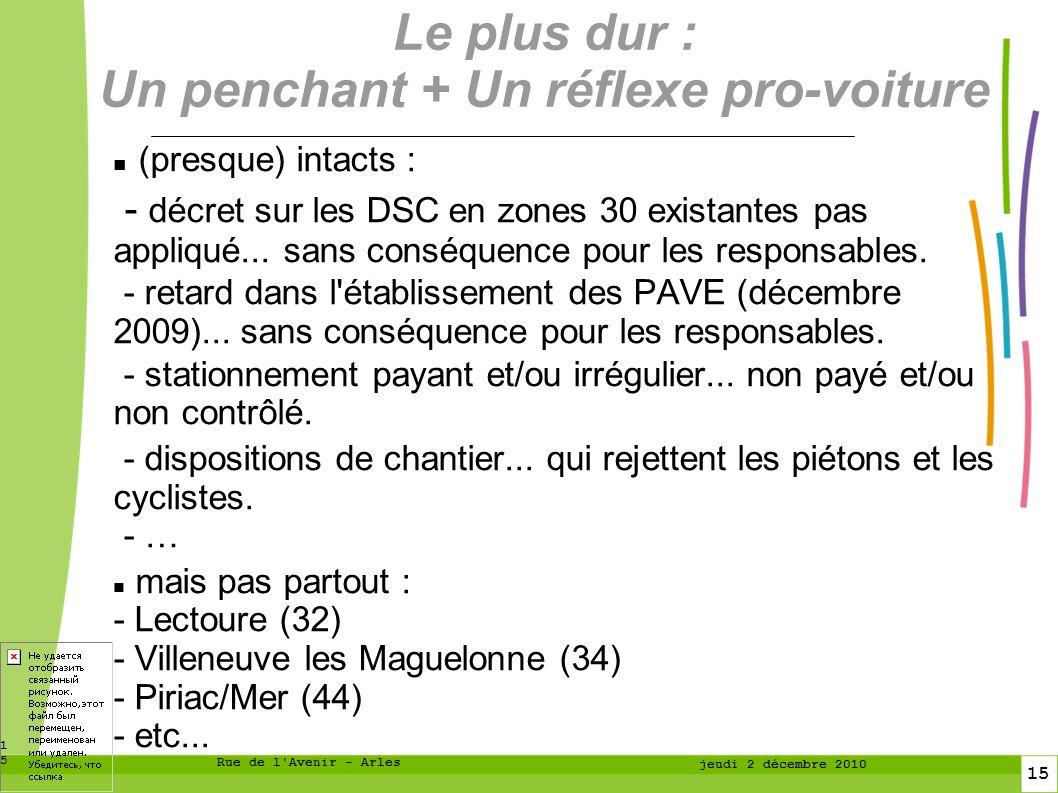 15 15 Rue de l Avenir - Arles jeudi 2 décembre 2010 Le plus dur : Un penchant + Un réflexe pro-voiture (presque) intacts : - décret sur les DSC en zones 30 existantes pas appliqué...