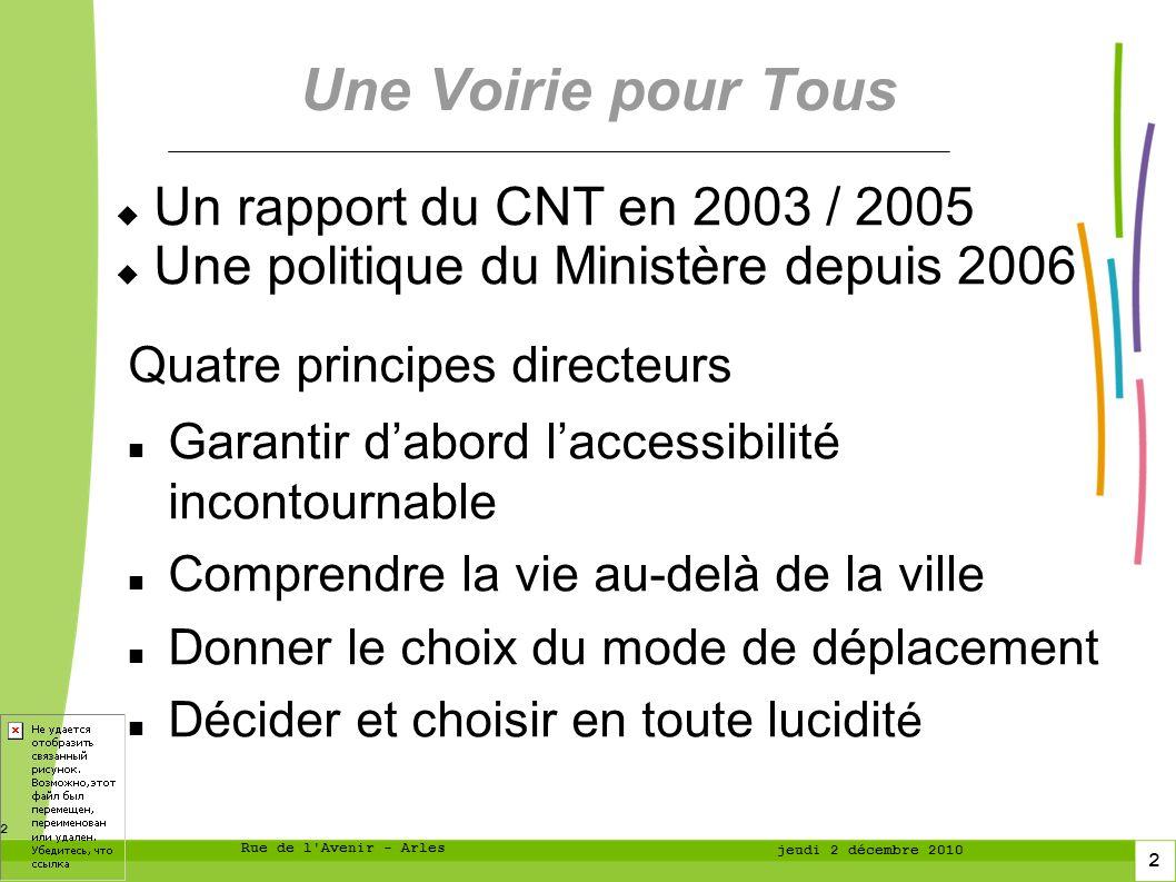 3 3 Rue de l Avenir - Arles jeudi 2 décembre 2010 Conséquences pratiques Changer le concept de normalité : prendre en compte dès le départ les publics auxquels on ne pense pas demblée.