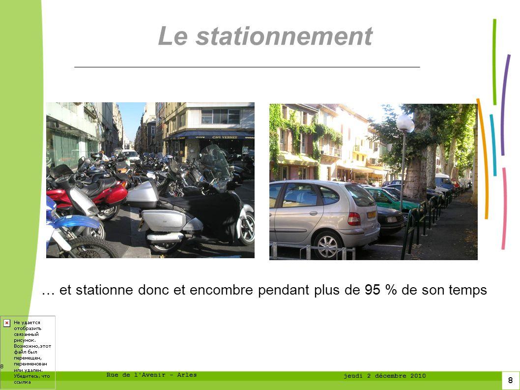 8 8 Rue de l Avenir - Arles jeudi 2 décembre 2010 Le stationnement … et stationne donc et encombre pendant plus de 95 % de son temps