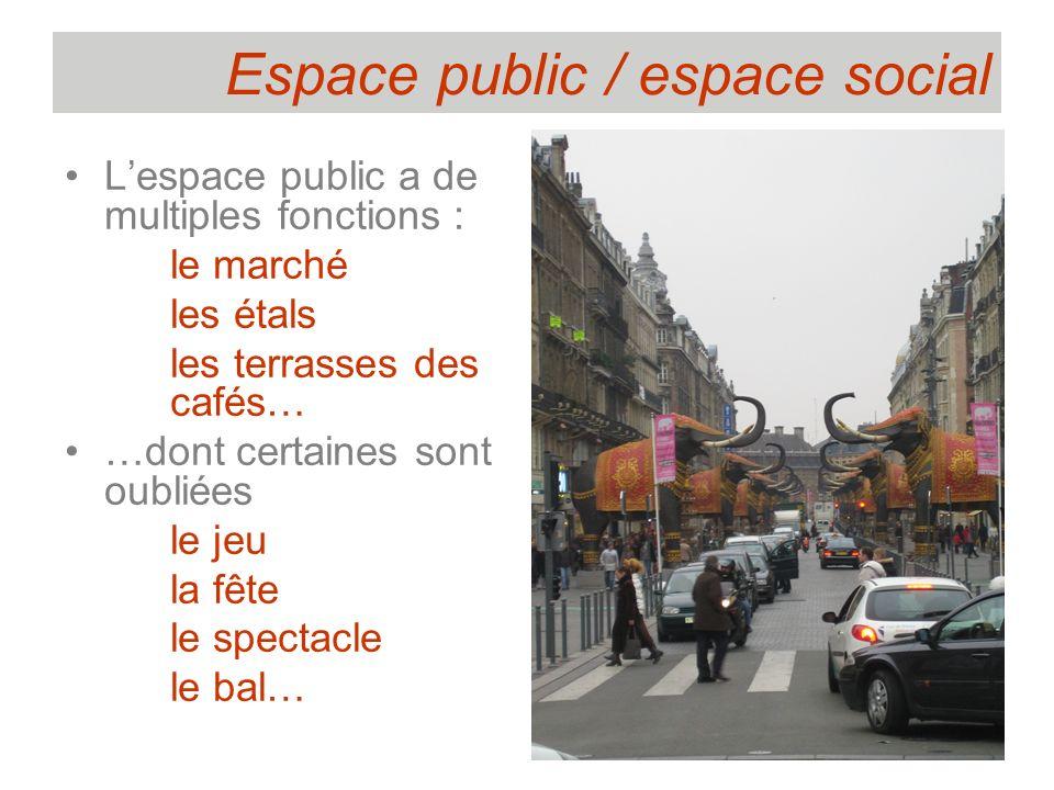 Espace public / espace social Lespace public a de multiples fonctions : le marché les étals les terrasses des cafés… …dont certaines sont oubliées le