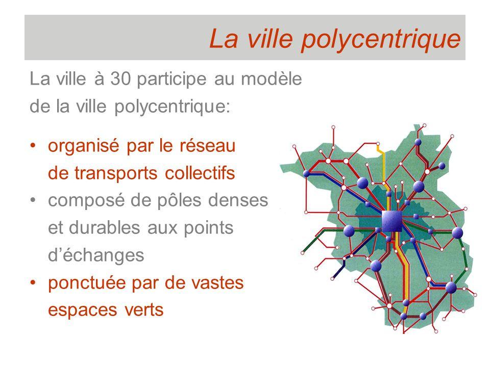La ville polycentrique La ville à 30 participe au modèle de la ville polycentrique: organisé par le réseau de transports collectifs composé de pôles d