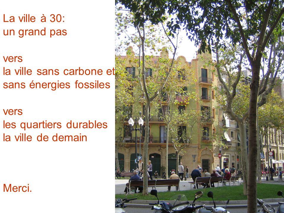 La ville à 30: un grand pas vers la ville sans carbone et sans énergies fossiles vers les quartiers durables la ville de demain Merci.