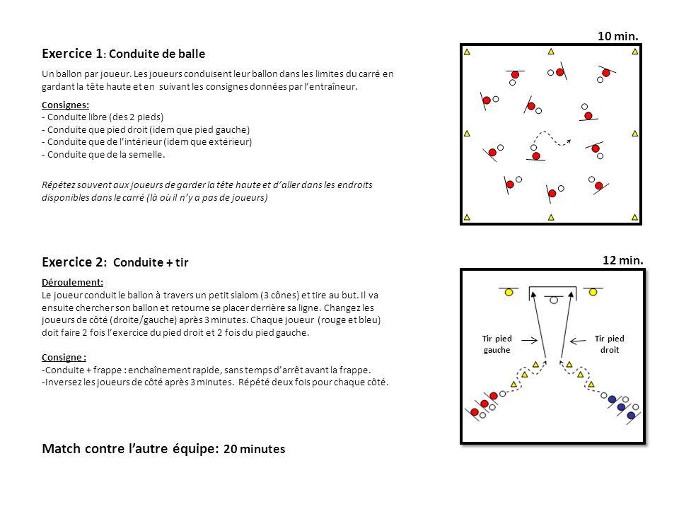 10 min. Exercice 2 : Conduite + tir Déroulement: Le joueur conduit le ballon à travers un petit slalom (3 cônes) et tire au but. Il va ensuite cherche
