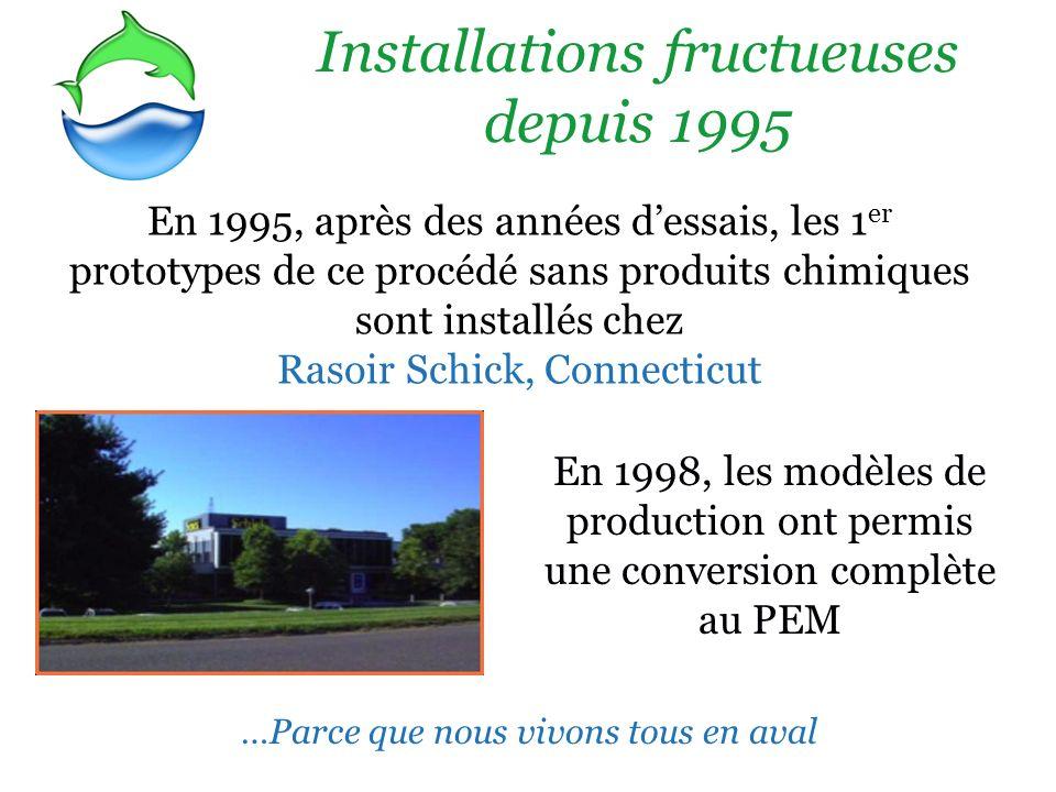 Installations fructueuses depuis 1995 En 1995, après des années dessais, les 1 er prototypes de ce procédé sans produits chimiques sont installés chez Rasoir Schick, Connecticut En 1998, les modèles de production ont permis une conversion complète au PEM …Parce que nous vivons tous en aval