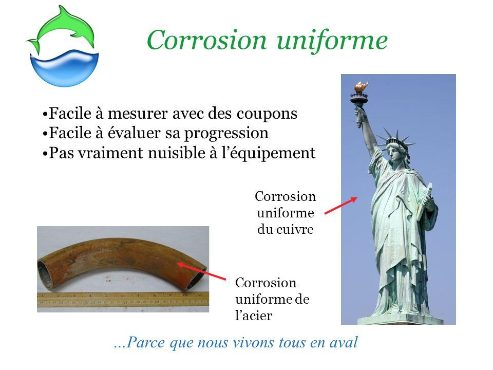 Corrosion uniforme Corrosion uniforme de lacier Corrosion uniforme du cuivre Facile à mesurer avec des coupons Facile à évaluer sa progression Pas vraiment nuisible à léquipement …Parce que nous vivons tous en aval