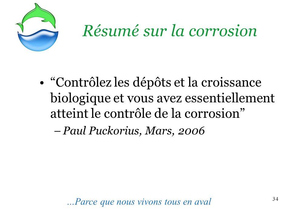34 Résumé sur la corrosion Contrôlez les dépôts et la croissance biologique et vous avez essentiellement atteint le contrôle de la corrosion –Paul Puckorius, Mars, 2006 …Parce que nous vivons tous en aval