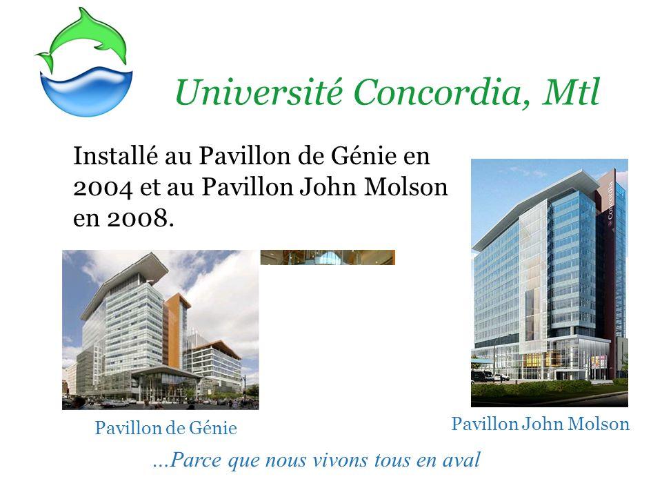 Université Concordia, Mtl Installé au Pavillon de Génie en 2004 et au Pavillon John Molson en 2008. …Parce que nous vivons tous en aval Pavillon de Gé