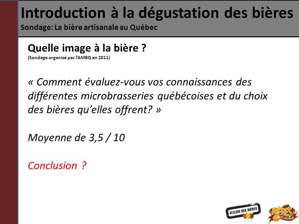Introduction à la dégustation des bières Sondage: La bière artisanale au Québec Quelle image à la bière ? (Sondage organisé par lAMBQ en 2011) « Comme