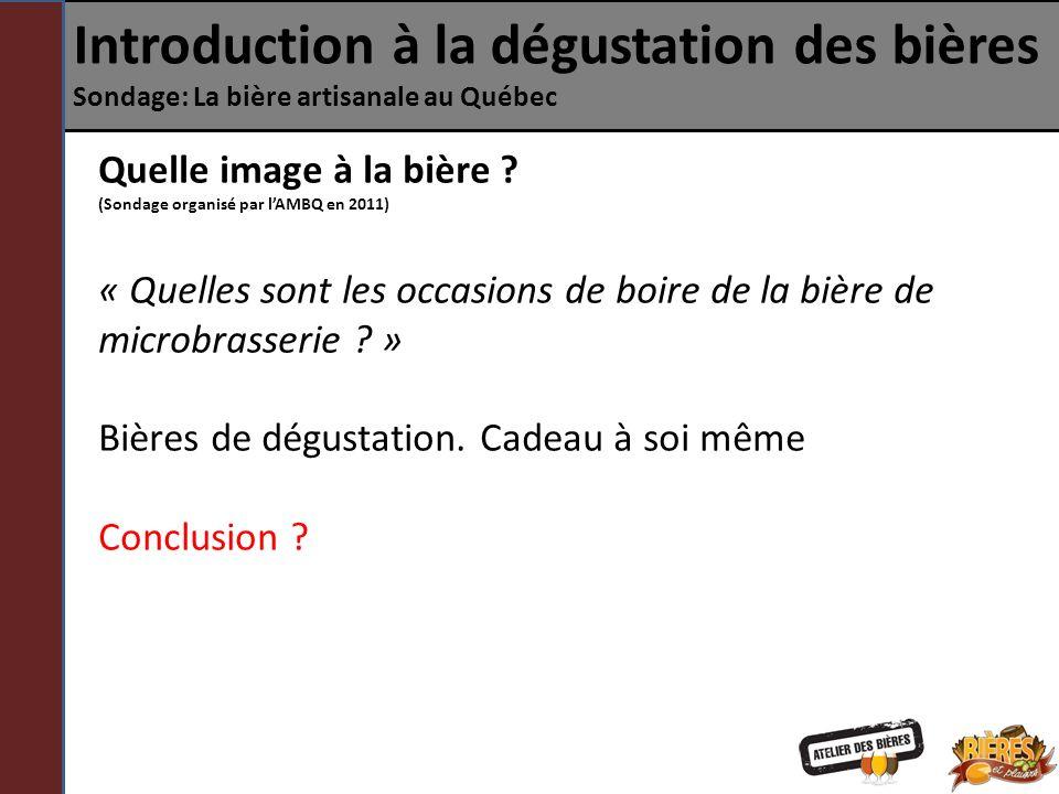 Introduction à la dégustation des bières Sondage: La bière artisanale au Québec Quelle image à la bière ? (Sondage organisé par lAMBQ en 2011) « Quell