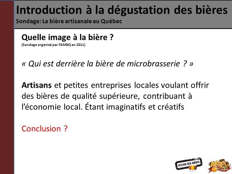Introduction à la dégustation des bières Sondage: La bière artisanale au Québec Quelle image à la bière ? (Sondage organisé par lAMBQ en 2011) « Qui e