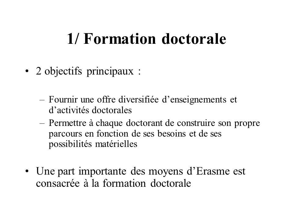 1/ Formation doctorale 2 objectifs principaux : –Fournir une offre diversifiée denseignements et dactivités doctorales –Permettre à chaque doctorant d