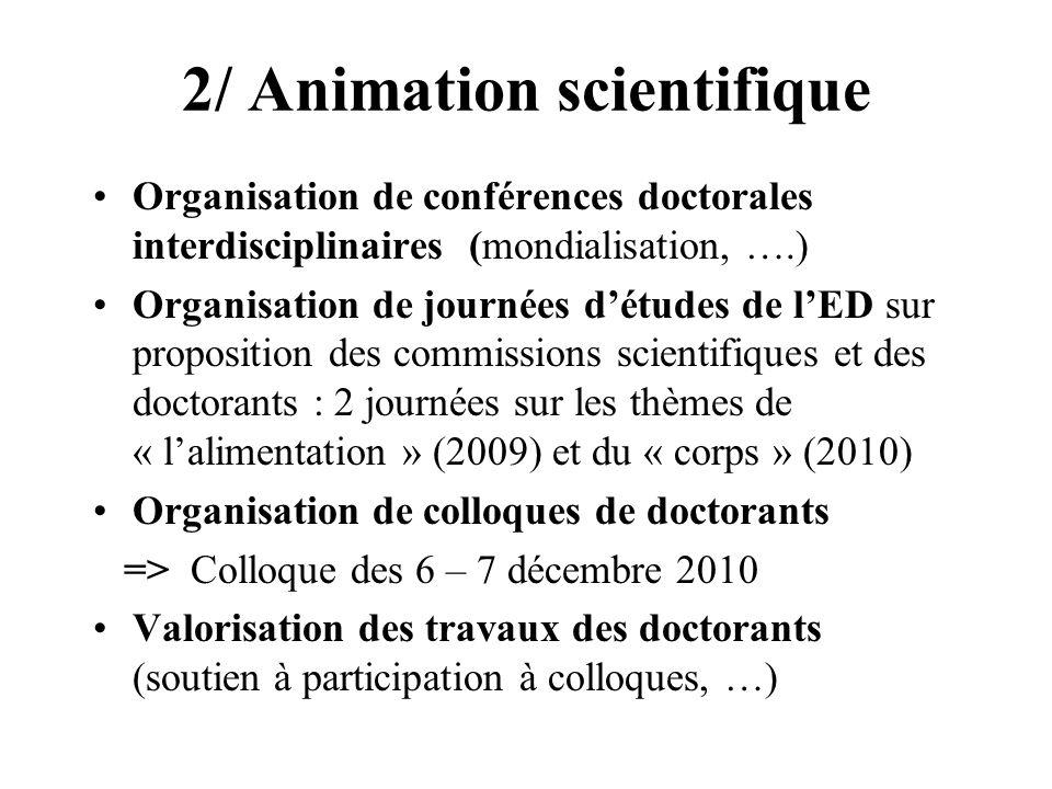 2/ Animation scientifique Organisation de conférences doctorales interdisciplinaires (mondialisation, ….) Organisation de journées détudes de lED sur