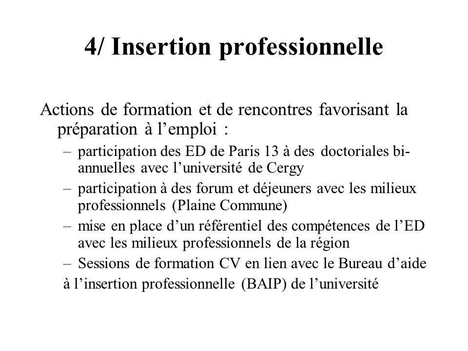 4/ Insertion professionnelle Actions de formation et de rencontres favorisant la préparation à lemploi : –participation des ED de Paris 13 à des docto