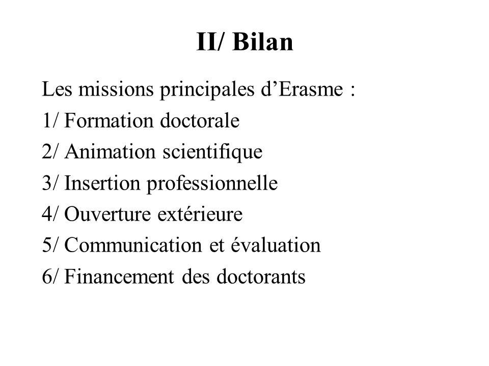 II/ Bilan Les missions principales dErasme : 1/ Formation doctorale 2/ Animation scientifique 3/ Insertion professionnelle 4/ Ouverture extérieure 5/