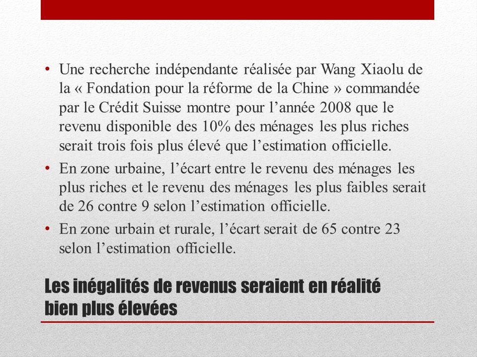 Les inégalités de revenus seraient en réalité bien plus élevées Une recherche indépendante réalisée par Wang Xiaolu de la « Fondation pour la réforme