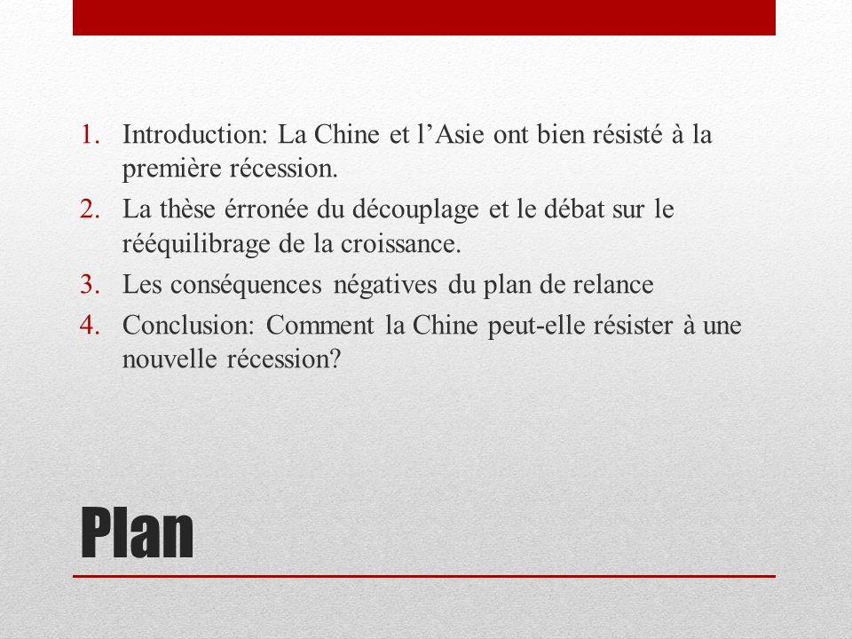 Plan 1.Introduction: La Chine et lAsie ont bien résisté à la première récession. 2.La thèse érronée du découplage et le débat sur le rééquilibrage de